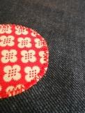 A piros-pozsga felvarrási módja.