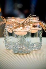 befőttesüveges-mécseses asztaldísz