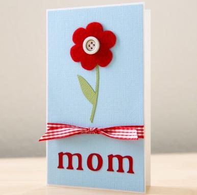 képeslap filc virággal