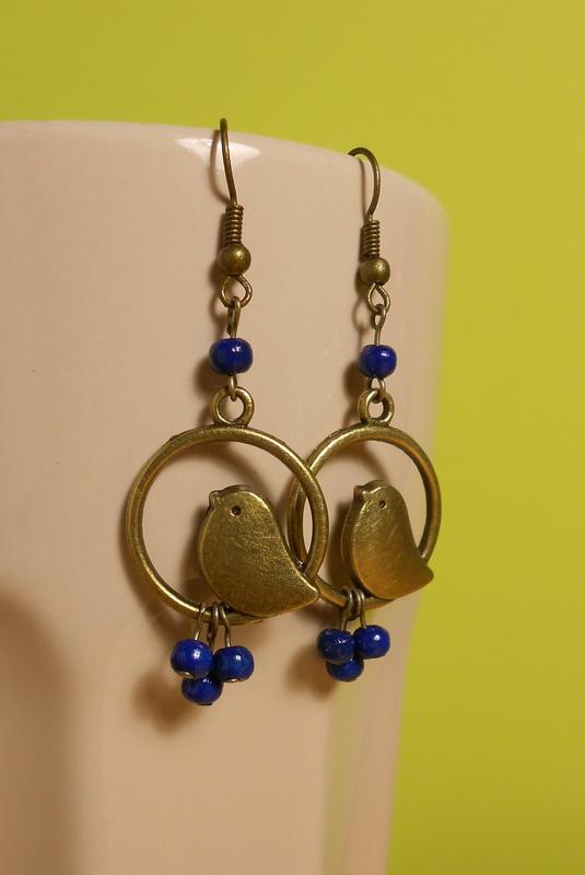 kék gyöngyös, madaras fülbevaló
