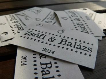3. digitálisan tervezett, nyomtatott címkék lyukasztva