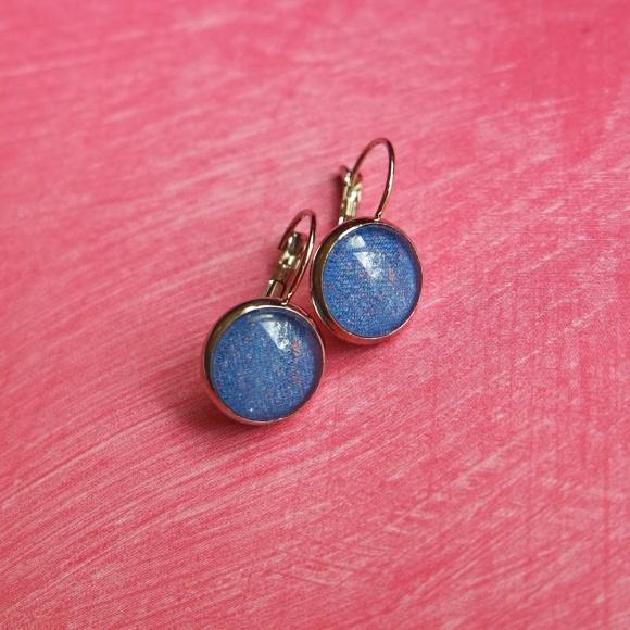 kék, textil mintás fülbevaló
