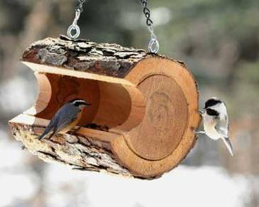 függő, farönk madáretető