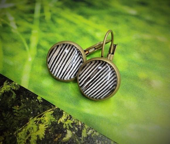 zebra csíkos fülbevaló